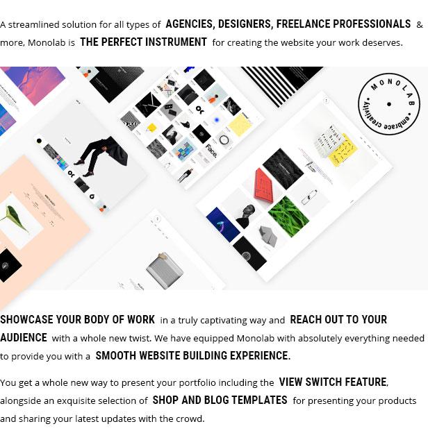 WordPress theme Monolab - A Portfolio Theme for Freelancers and Agencies (Portfolio)
